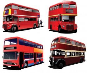 Realistic buses urban vector set 02