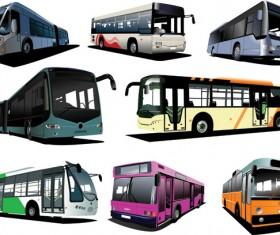 Realistic buses urban vector set 03