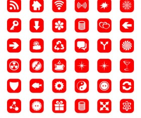 Red computer icons psd set