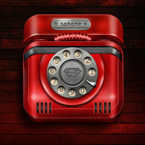 Red phone psd icons material