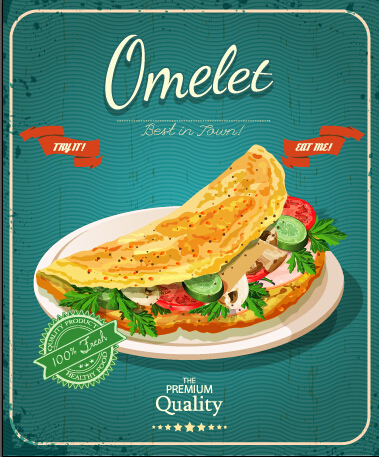 Retro advertising poster omelet food vector 01 free download