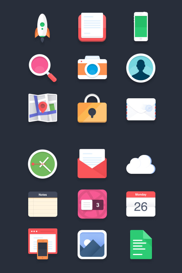 Retro app flat icons creative psd