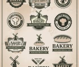 Retro bakery labels vector set 01