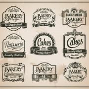 Link toRetro bakery labels vector set 02