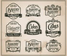 Retro bakery labels vector set 02