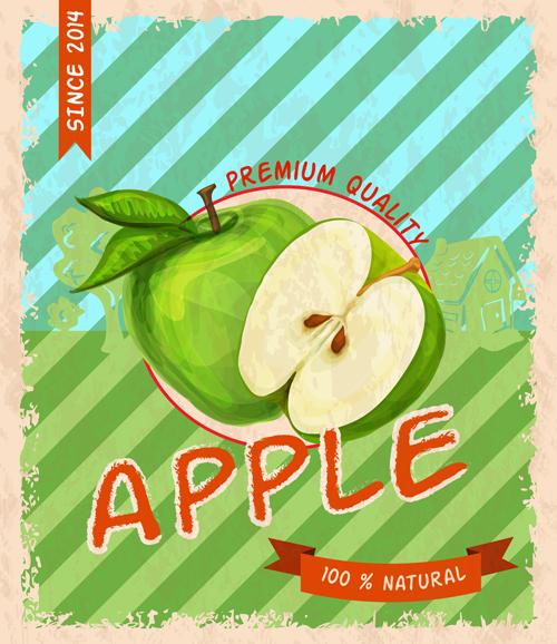 Retro fruit poster grunge style vector 01 - Vector Cover, Vector Food ...