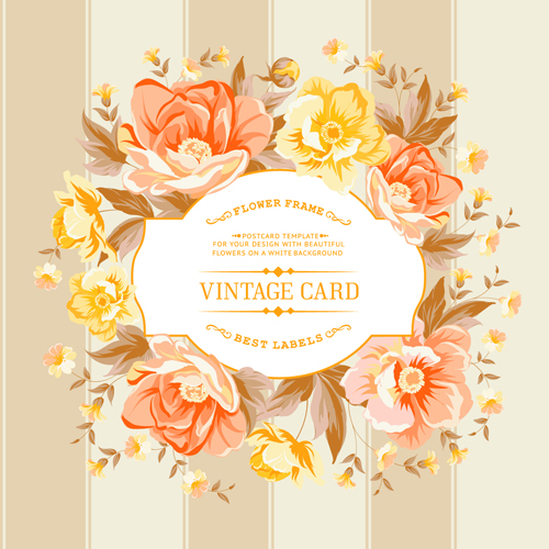 Retro Rose With Vintage Card Vector Vector Card Vector