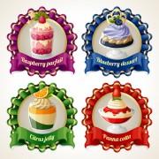 Link toRibbon labels sweet design vector graphics 04