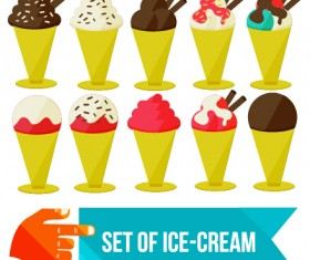 Set of Ice cream vector material 03