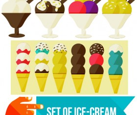Set of Ice cream vector material 04