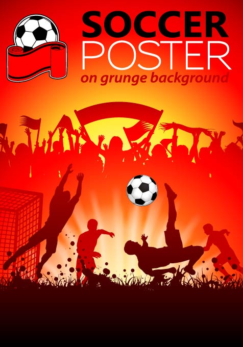 Soccer Poster Grunge Background Vector Vector Cover