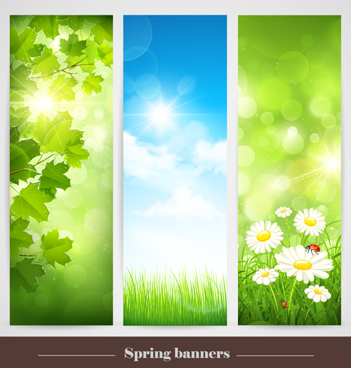 Spring Natural Banners Vector Set 02 Over Millions