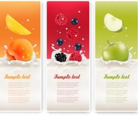 Summer drinks advertising banner vector 02