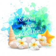 Link toSummer holidays elements with grunge background vector 02