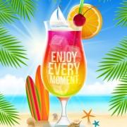Summer holidays seaside travel background material 01