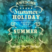 Link toSummer labels with geometric shapes background vector 02