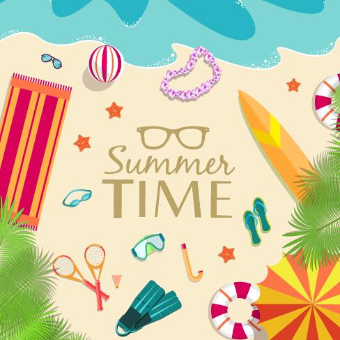 Summer Travel Elements Set Vector Background 01 Over