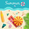Summer travel elements set vector background 05