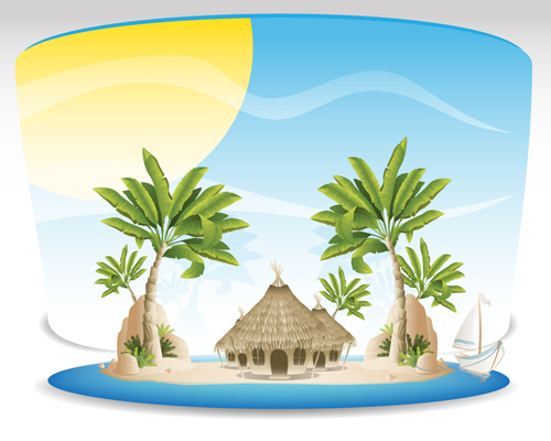 Enjoy Tropical Summer Holidays Backgrounds Vector 04 Free: Summer Tropical Island Travel Background Vector 04 Free