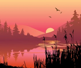 Sunset landscapes beautiful vector background 01
