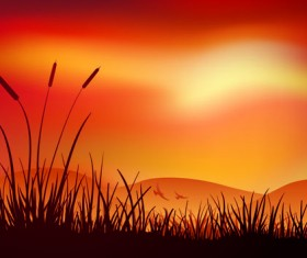 Sunset landscapes beautiful vector background 02