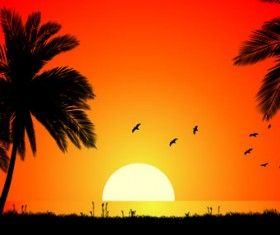 Sunset landscapes beautiful vector background 03