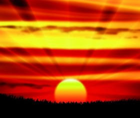 Sunset landscapes beautiful vector background 04