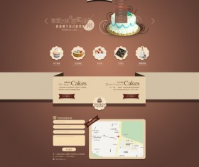 Sweet with cake website template psd