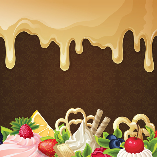 sweet with drop chocolate background set vector 01