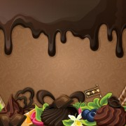 Sweet with drop chocolate background set vector 02
