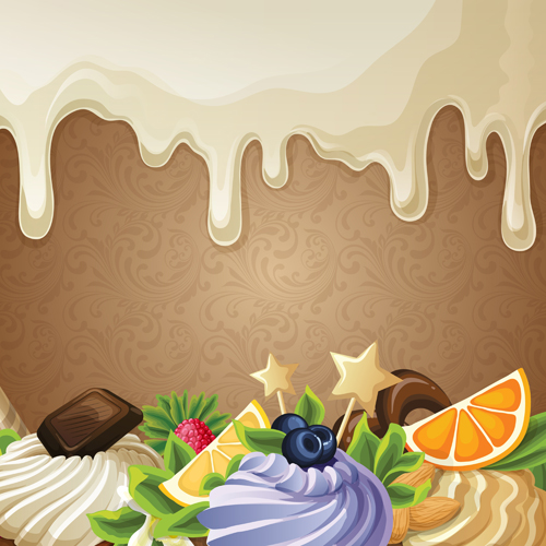 sweet with drop chocolate background set vector 03 free