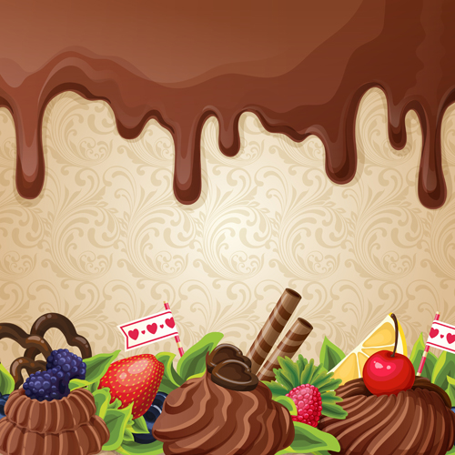 Sweet With Drop Chocolate Background Set Vector 04 Free