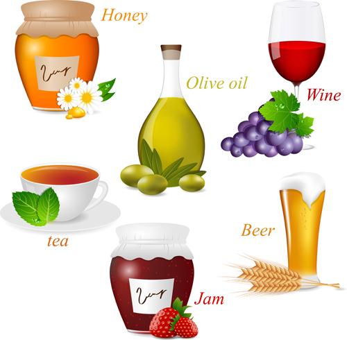 Tasty jams design elements vector set 05
