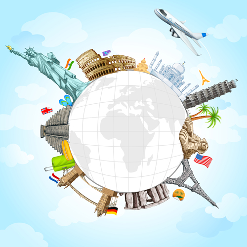 Travel around the world creative vector material 03 free for Best round the world cruise