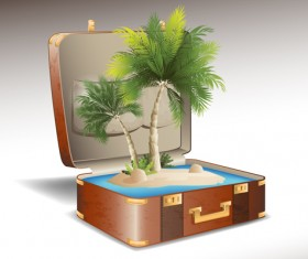 Travel elements and suitcase creative background set 01