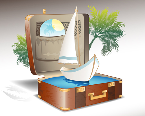 Travel elements and suitcase creative background set 02