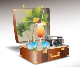 Travel elements and suitcase creative background set 04