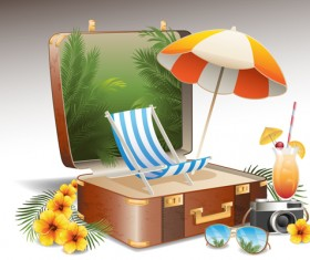 Travel elements and suitcase creative background set 05