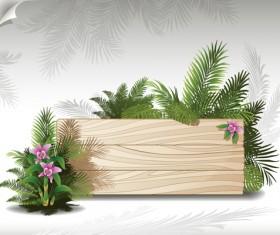 Tropical plants with billboard vector design 01