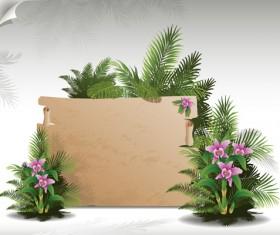 Tropical plants with billboard vector design 02