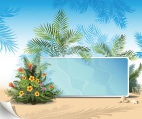 Tropical plants with billboard vector design 03