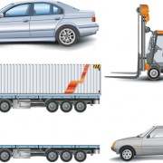 Link toTrucks with car and forklift vector