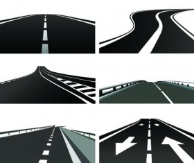 Various asphalt roads vector material 01