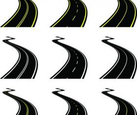 Various asphalt roads vector material 04