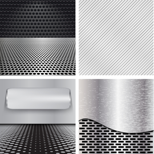 Various metal style background set vector 01