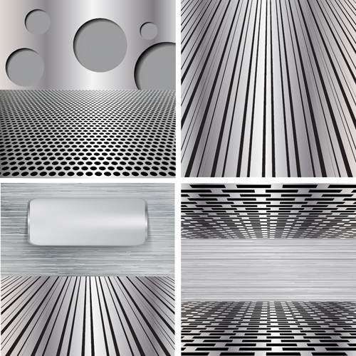 Various metal style background set vector 02