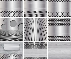 Various metal style background set vector 03