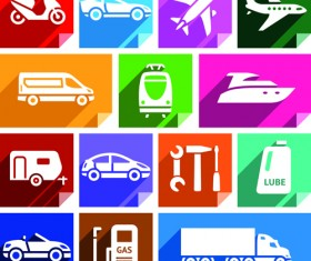 Various transport icons set vector 01