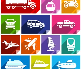 Various transport icons set vector 02