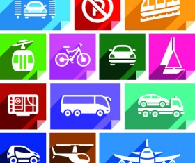Various transport icons set vector 03